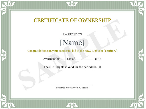 Awesome Certificate Of Ownership Sample In Certificate Of Ownership Template